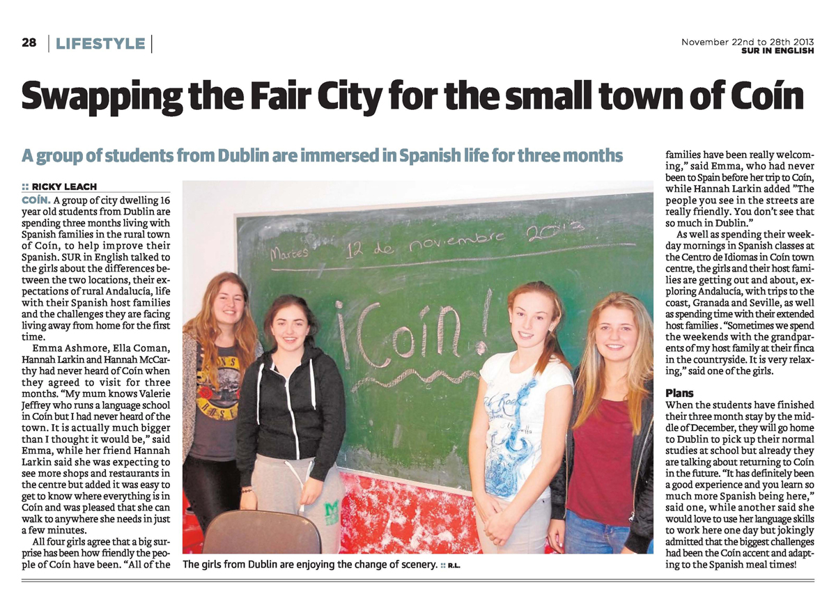 Transition year students from Dublin learning English in rural Spain